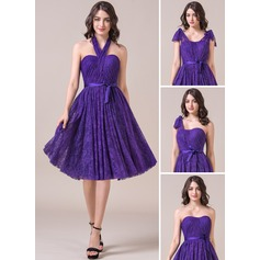 A-Line/Princess Sweetheart Knee-Length Lace Bridesmaid Dress With Ruffle Bow(s)