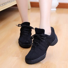 Women's Leatherette Sneakers Practice With Lace-up Dance Shoes