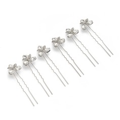 Nice Crystal/Alloy Hairpins (Set of 6)