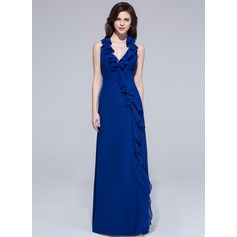 Sheath/Column Halter Floor-Length Chiffon Evening Dress With Ruffle Bow(s) Cascading Ruffles