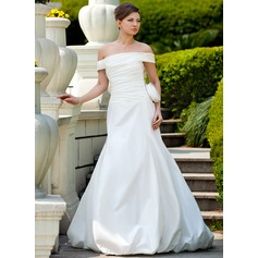 Trumpet/Mermaid Off-the-Shoulder Court Train Taffeta Wedding Dress With Ruffle Flower(s)