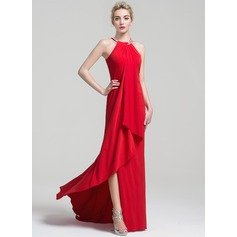 Sheath/Column Scoop Neck Chapel Train Jersey Evening Dress With Beading Cascading Ruffles