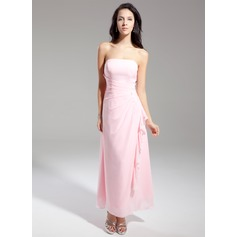 Sheath/Column Strapless Ankle-Length Chiffon Bridesmaid Dress With Beading Cascading Ruffles