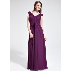 Empire Off-the-Shoulder Floor-Length Chiffon Bridesmaid Dress With Ruffle