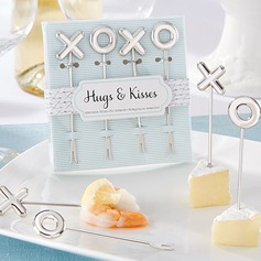 """Hugs & Kisses From Mr. & Mrs."" Stainless Steel Fruit Forks"