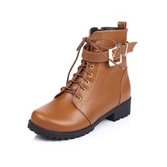 Women's Leatherette Low Heel Platform Ankle Boots With Buckle Braided Strap shoes