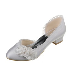 Women's Satin Chunky Heel Closed Toe Pumps With Flower