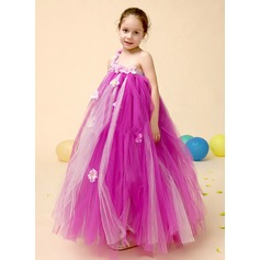 A-Line/Princess Ankle-length Flower Girl Dress - Tulle Sleeveless One-Shoulder With Beading/Flower(s)