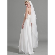 Two-tier Pencil Edge Waltz Bridal Veils With Applique