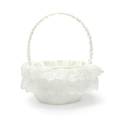 Pure Flower Basket in Satin With Lace