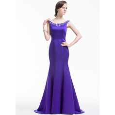 Trumpet/Mermaid Off-the-Shoulder Sweep Train Satin Evening Dress With Beading Sequins