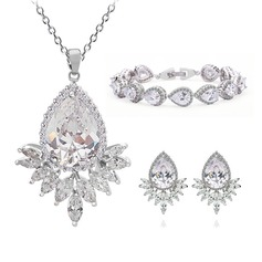 Attractive Copper/Zircon/Platinum Plated Ladies' Jewelry Sets