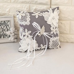Lovely Ring Pillow in Satin With Flowers