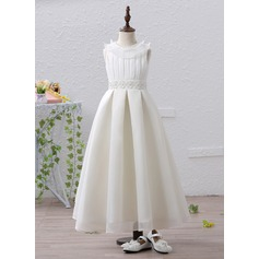 A-Line/Princess Ankle-length Flower Girl Dress - Satin Sleeveless Jewel With Beading/Appliques