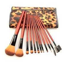 12Pcs Eye-catching Makeup Brush Set With Leopard Bag #CB1207