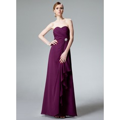 Empire Sweetheart Floor-Length Chiffon Bridesmaid Dress With Crystal Brooch Cascading Ruffles