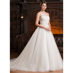 Ball-Gown One-Shoulder Chapel Train Tulle Wedding Dress With Ruffle Beading