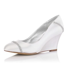 Women's Satin Wedge Heel Closed Toe Pumps Dyeable Shoes With Rhinestone