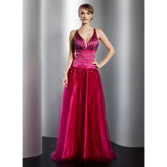 A-Line/Princess V-neck Floor-Length Tulle Prom Dress With Beading