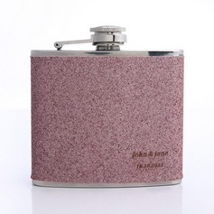 Personalized Leatherette-Covered Stainless Steel/Leatherette Flask