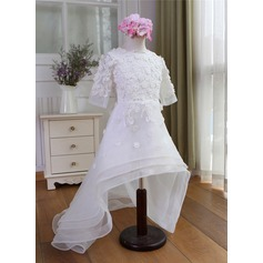 A-Line/Princess Sweep Train Flower Girl Dress - Organza 1/2 Sleeves Scoop Neck With Appliques