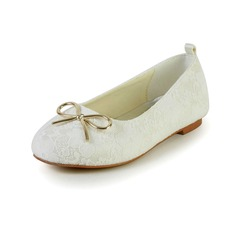 Girl's Lace Satin Flat Heel Closed Toe Flats With Bowknot