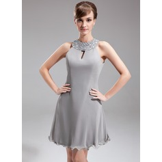 A-Line/Princess Halter Knee-Length Chiffon Mother of the Bride Dress With Beading