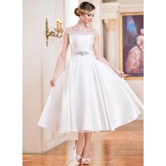 A-Line/Princess Off-the-Shoulder Tea-Length Satin Wedding Dress With Beading Sequins
