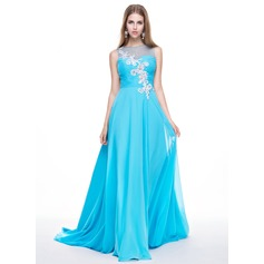 A-Line/Princess Scoop Neck Sweep Train Chiffon Prom Dress With Ruffle Beading Appliques Lace Sequins