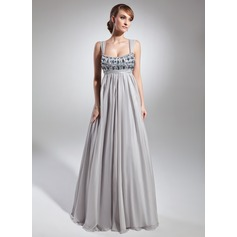 Empire Scoop Neck Floor-Length Chiffon Holiday Dress With Ruffle Beading (020036566)