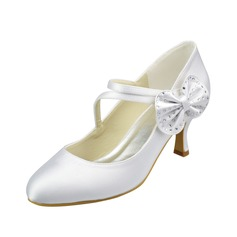 Women's Satin Low Heel Closed Toe Pumps With Bowknot