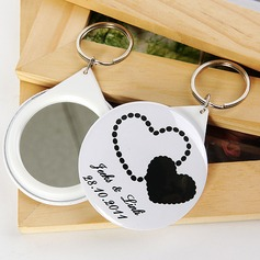 Personalized Double Hearts Plastic Keychains/Compact Mirror  (118030140)