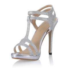 Women's Sparkling Glitter Stiletto Heel Sandals Pumps With Buckle shoes