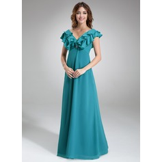 Empire V-neck Floor-Length Chiffon Bridesmaid Dress With Beading Cascading Ruffles