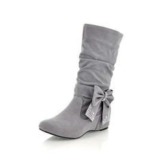 Women's Suede Low Heel Platform Mid-Calf Boots With Bowknot shoes