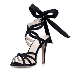 Silk Like Satin Stiletto Heel Sandals Pumps With Bowknot shoes