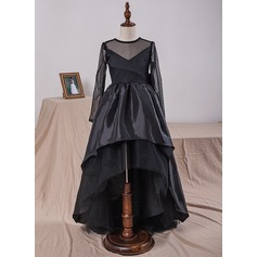 Ball Gown Knee-length Flower Girl Dress - Taffeta/Tulle/Lace Long Sleeves Scoop Neck With Bow(s)