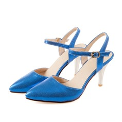 Women's Patent Leather Low Heel Pumps Closed Toe Slingbacks With Buckle shoes