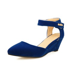 Women's Suede Wedge Heel Pumps Closed Toe shoes