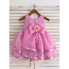 Ball Gown Knee-length Flower Girl Dress - Organza Sleeveless Scoop Neck With Flower(s)/Bow(s)