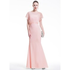 Trumpet/Mermaid Scoop Neck Floor-Length Chiffon Evening Dress With Lace