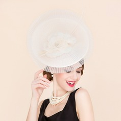 Ladies' Exquisite Cambric With Silk Flower Bowler/Cloche Hat