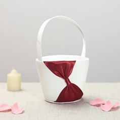 Beautiful Flower Basket in Satin With Bow