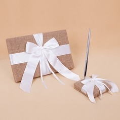 Butterfly Design Ribbons/Bow/Sash Guestbook & Pen Set
