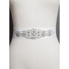 Gorgeous Satin Sash With Rhinestones/Imitation Pearls