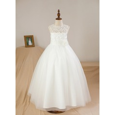 Ball Gown Ankle-length Flower Girl Dress - Satin/Tulle Sleeveless Scoop Neck With Appliques/Flower(s) (010094112)