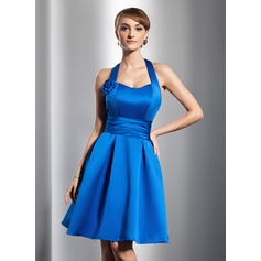 A-Line/Princess Halter Knee-Length Satin Homecoming Dress With Ruffle Flower(s)