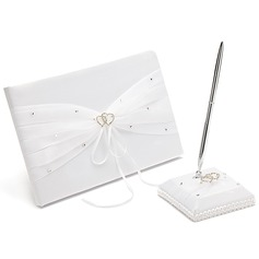 Beautiful Rhinestones/Bow/Double Hearts Guestbook & Pen Set (101018137)