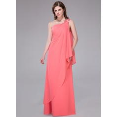 Sheath/Column One-Shoulder Floor-Length Chiffon Holiday Dress With Beading Sequins Cascading Ruffles