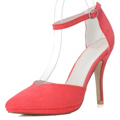 Suede Stiletto Heel Pumps Closed Toe With Buckle shoes